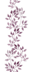 Seamless line border - hand drawing aquarelle violet leaves. Repeated pattern.
