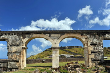 Ruins near the fortress on an island in the Caribbean Sea