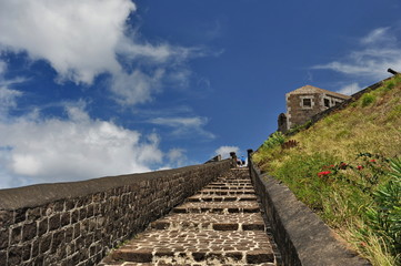 Ancient fortress on an island in the Caribbean