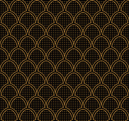Japanese Ornamental Vector Background. Art Deco Circles Seamless Pattern. Geometric decorative texture.