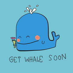 Get Whale Soon word and cartoon vector illustration doodle style