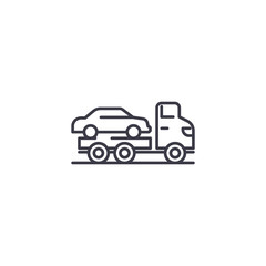 Car carrier linear icon concept. Car carrier line vector sign, symbol, illustration.