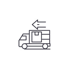 Car delivery linear icon concept. Car delivery line vector sign, symbol, illustration.