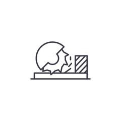 Circular sawbench linear icon concept. Circular sawbench line vector sign, symbol, illustration.