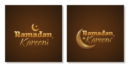 Greeting card set for Ramadan Kareem. Traditional wish with islamic symbol crescent. Golden greeting inscription on a dark brown background with traditional arabic ornament. Vector illustration