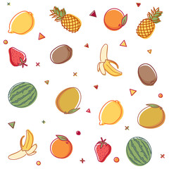 Vector seamless pattern with summer fruit outline doodles with watercolor effect. Lemons, pineapples, oranges, watermelons, kiwis, bananas, mangos and strawberries.