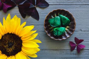 Malachite with Sunflower and False Shamrock