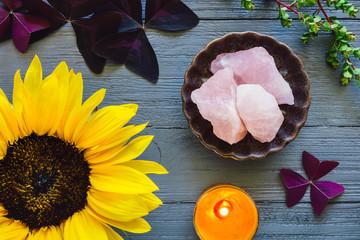 Rose Quartz with Sunflower, False Shamrock and Candle