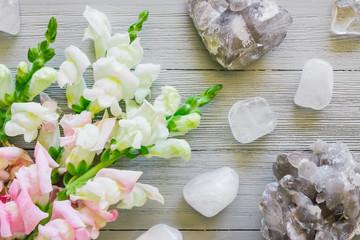 Gladiolus and Quartz on White Table