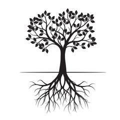 Black Spring Tree. Vector Illustration.