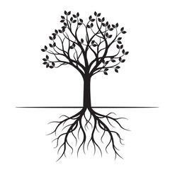 Black Spring Tree. Vector Illustration.