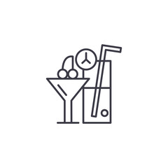 Cocktails linear icon concept. Cocktails line vector sign, symbol, illustration.