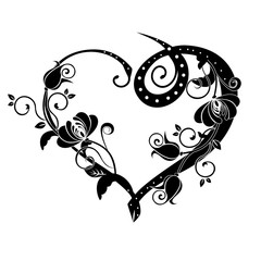 heart with flourishes black
