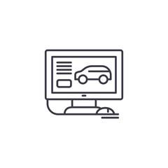 Computer diagnostics of cars linear icon concept. Computer diagnostics of cars line vector sign, symbol, illustration.