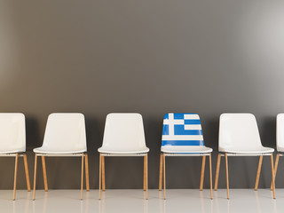 Chair with flag of greece