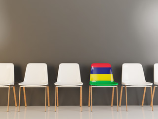 Chair with flag of mauritius