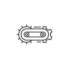 Conveyor automatization linear icon concept. Conveyor automatization line vector sign, symbol, illustration.