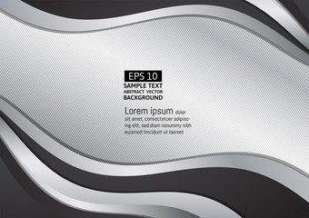 Black and silver wave abstract background vector illustration