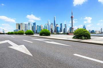 Wall Murals urban asphalt road and modern commercial buildings in shanghai