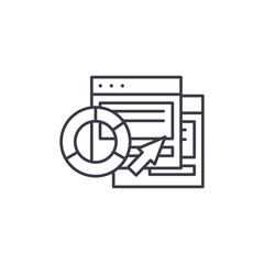 CRM software reports linear icon concept. CRM software reports line vector sign, symbol, illustration.