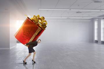 Getting gift or bonus. Mixed media