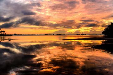 Beautiful sunset on the beach landscape