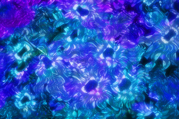 An abstract cool toned floral design.
