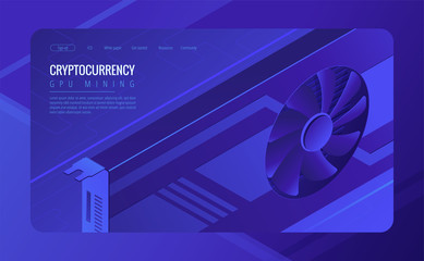 Isometric GPU mining landing page concept. Mining crypto currency, video card server farm, data processing unit equipment on ultraviolet background. Vector 3d isometric illustration