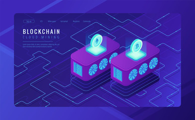Isometric cloud mining landing page concept. Dedicated cloud data centers for blockchain cryptocurrencies mining as an investment on ultraviolet background. Vector 3d isometric illustration