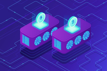 Isometric cloud mining concept. Servers in remote dedicated cloud mining data centers with shared processing power with cryptocurrency coins on ultraviolet background. Vector 3d isometric illustration