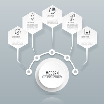 Modern infographic template with 3D paper label, integrated circles. Business concept with 5 options. For content, diagram, flowchart, steps, parts, timeline infographics, workflow layout, chart