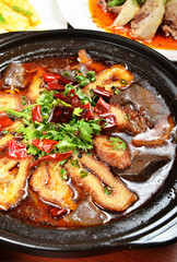 Chinese food- Spicy pig intestines pot