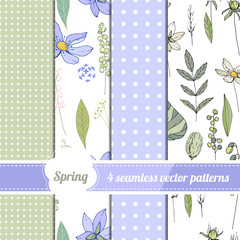 Set with four seamless patterns. Endless texture with spring elements for season design