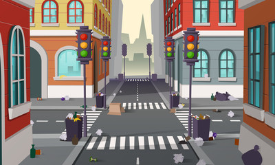 Dirty street with garbage all around, vector background. Empty city crossroad with traffic lights and buildings, with organic waste, bottles and full dustbins. Urban pollution concept illustration Fotomurales