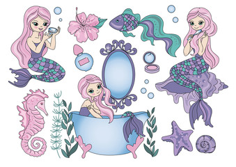Cartoon Clipart PURPLE MERMAID Color Vector Illustration Magic Beautiful Picture Paint Drawing Set Scrapbooking Baby Book Fairytale Greeting Print Card Album Digital Paper Birthday