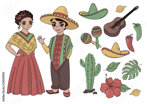Cartoon Clipart Mexico Color Vector Illustration Magic Beautiful