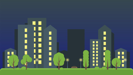 Night city park with trees and a bench. Tall houses in the background. Vector illustration