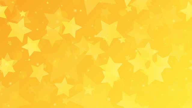 Abstract geometric background. Gold stars on a yellow gradient background. Vector illustration