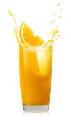 Glass of orange juice with splash and orange slice