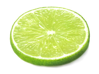 single slice of lime isolated on whtie background
