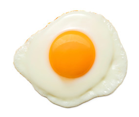 top view of sunny side fried egg isolated on white background