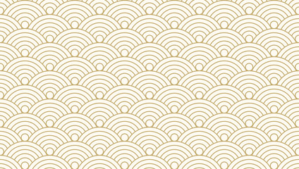 Pattern seamless circle abstract wave background gold luxury color and line. Japanese circle pattern vector.