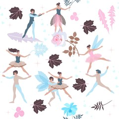 Cute cartoon fairies and elves with beautiful leaves and flowers isolated on white background. Seamless pattern in vector. Print for fabric, paper, wallpaper, wrapping design.