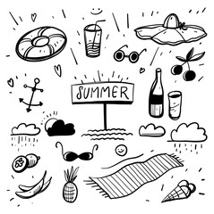 Summer set with hand drawn vector travel elements.