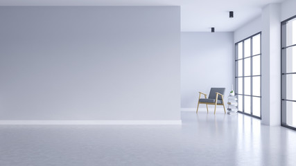 Modern empty living room interior ,white wall and concrete floor with black frame window,3drender