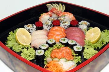 Dish of Japanese cuisine with a set of sushi rolls