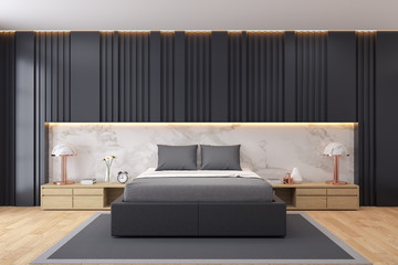 Modern luxury dark Bedroom interior Design,3d render