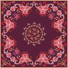 Square bandana print in ethnic style with bright paisley ornament and stylized roses and tulips flowers on dark purple background. Vector illustration.