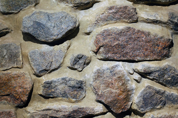 cobblestone surface of different sizes, background, texture. Close-up