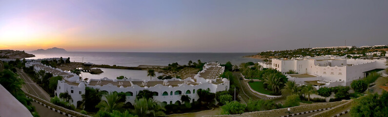 Panorama of the tourist coast in Egypt